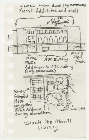 Drawing of 1960's addition to library under partially demolished Merrill library<br />
