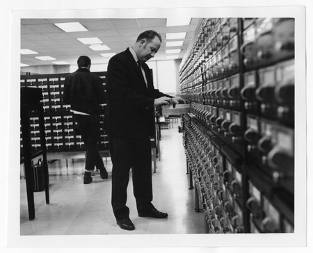 Students using card catalog, Merrill Library