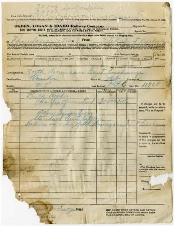O.L.I. Shipping Order, North American Fruit Exchange, 1919<br />
