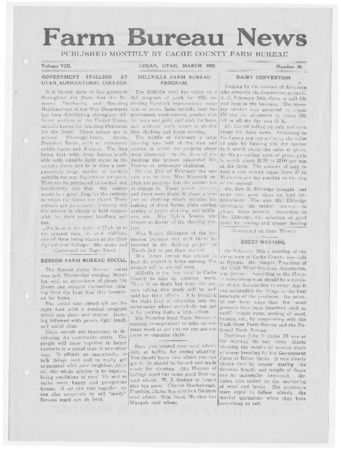 Farm Bureau News, Cache County, Volume VIII, Number 10, March 1922