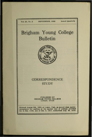 Brigham Young College Bulletin, September 1922