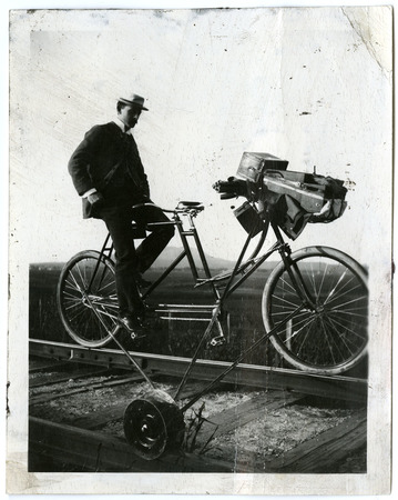 Railroad Track Checker on a Bike<br />