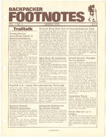 Backpacker Footnotes, March 1979