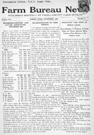 Farm Bureau News, Cache County, Volume VIII, Number 7, December 1922
