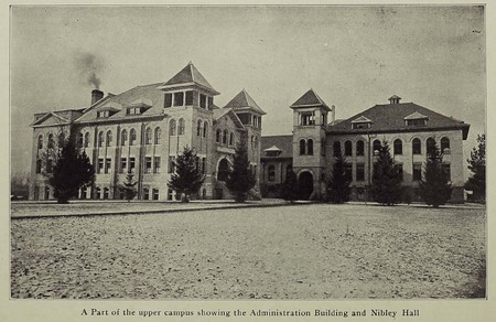 Nibley Hall (left) and the Administration Building (West Building - right)