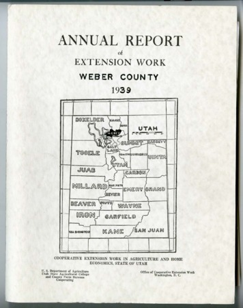 Annual Report of Extension Work, Agricultural Agent, Weber County, 1939