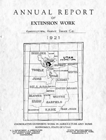 Annual Report of Extension Work, Agricultural Agent, Davis County, 1921