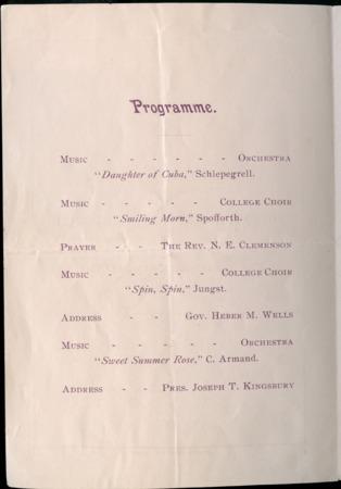 1899 UAC Commencement Program, Page 1
