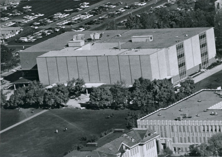 Utah State University aerial view of Library, 1968