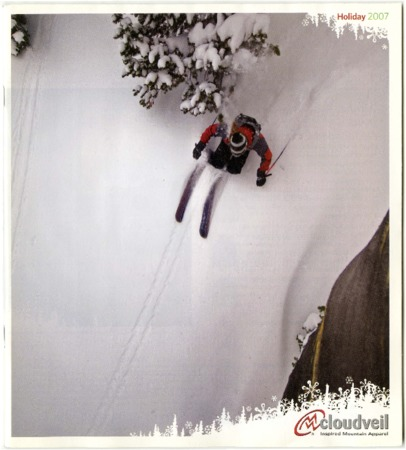 Cloudveil, skier with tree, 2007