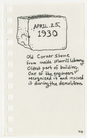 Drawing of 1930&#039;s library cornerstone<br />