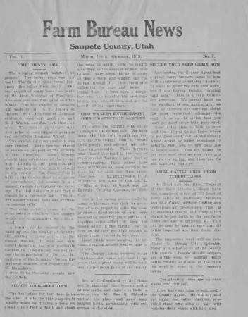 Farm Bureau News, Sanpete County, 1919-1921