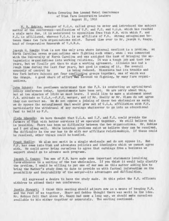 Notes covering Ben Lomond Hotel Conference of Utah Farm Cooperative Leaders, August 31, 1953