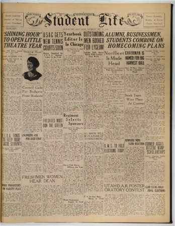 """Front page of the """"Student Life"""" newspaper, October 11, 1934"""