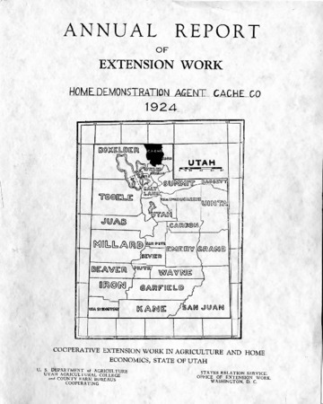 Annual Report of Extension Work, Home Demonstration Agent, Cache County, 1924
