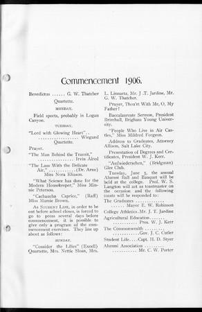 1906 UAC Commencement Program Student Life Newspaper