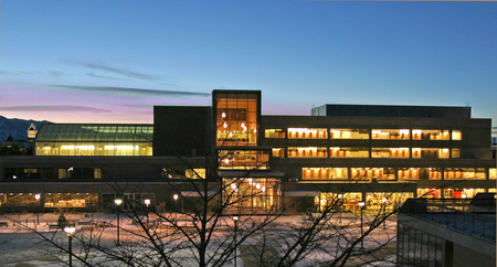 Night view of the Merrill-Cazier Library