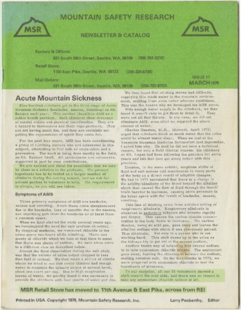 Mountain Safety Research, issue 11, 1976