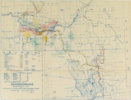 Railroad Reconnaissance Report, January 1928 Survey Map<br />