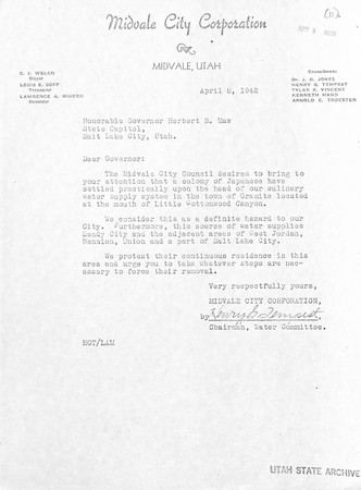 Midvale City Council letter to Utah Governor Herbert B. Maw
