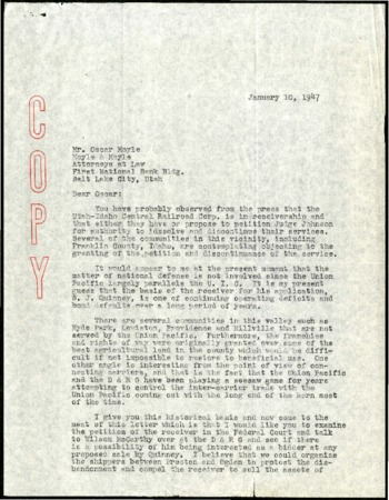 Preston to Moyle & Moyle on Options for Continuing the Service of the U.I.C. Lines, January, 1947<br />