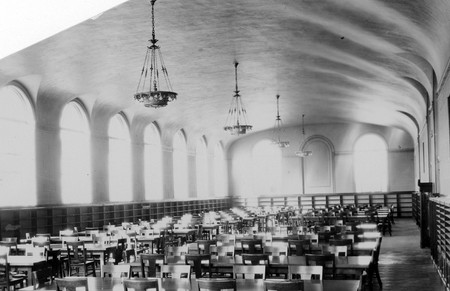 Interior view of the Merrill Library reading room, 1930s