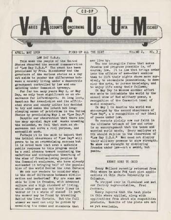 Varied Accounts Concerning Uca Uinta Mischief (VACUUM), Volume 2, Number, 3, May 1959