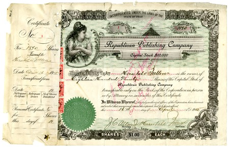 Stock certificate for the Republican Publishing Company, 1915.