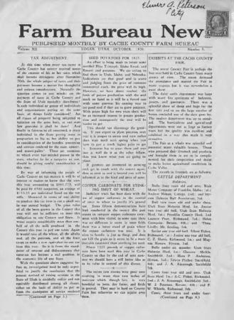 Farm Bureau News, Cache County, Volume XII, Number 5, October 1926