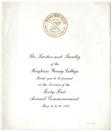 Invitation to the B.Y.C. Forty-First Annual Commencement, May 26 to 29, 1919