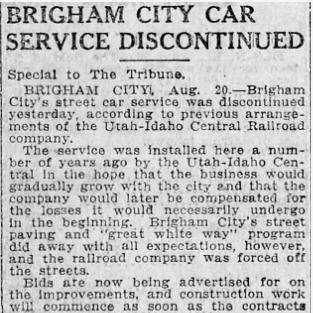 """Brigham City Car Service Discontinued,"" Salt Lake Tribune, 1919<br />"