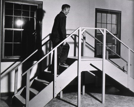 Physical therapyon stairs at Bushnell