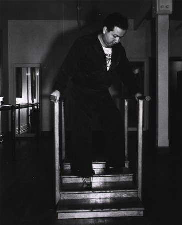 Amputee practicing climbing stairs at Bushnell Hospital