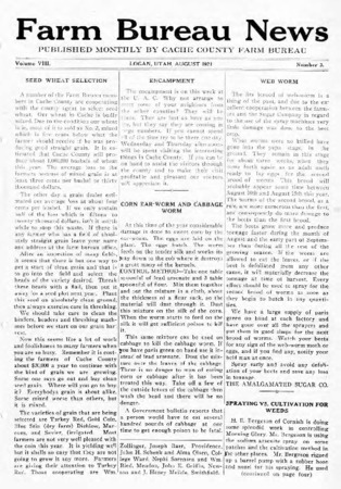 Farm Bureau News, Cache County, Volume VIII, Number 3, August 1921