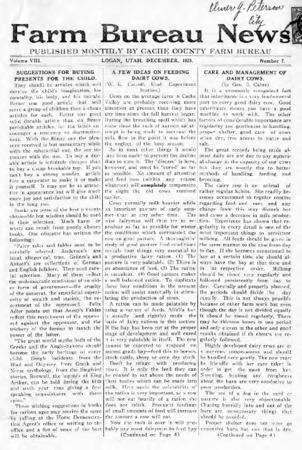 Farm Bureau News, Cache County, Volume VIII, Number 7, December 1923