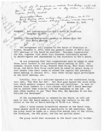 Utah Cooperative Association Board of Directors memoranda, October 31, 1974.