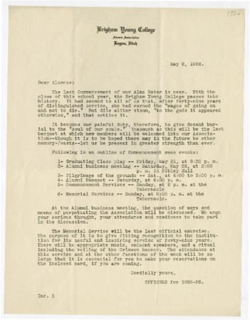 Letter to BYC Alumni requesting attendance at upcoming alumni events and the final BYC Commencement (May 8, 1926)
