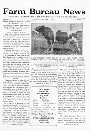 Farm Bureau News, Cache County, Volume IV, Number 2, July 1925