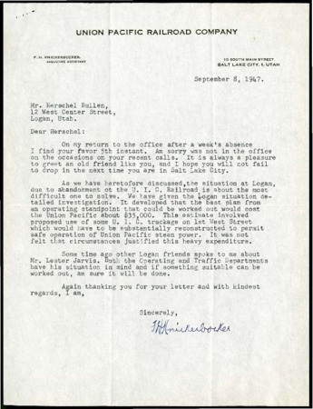 F.H. Knickerbocker to Bullen, Cache Valley Service and Citizens, September, 1947<br />