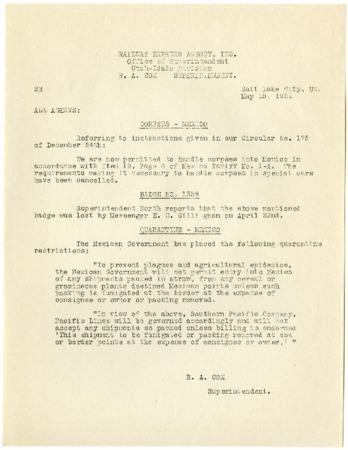 Railroad Bulletin, Corpses and Quarantine in Mexico, 1931<br />