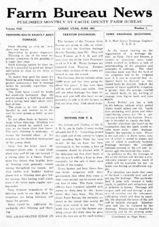 Farm Bureau News, Cache County, Volume VIII, Number 1, June 1921