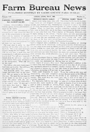 Farm Bureau News, Cache County, Volume VIII, Number 2, July 1923