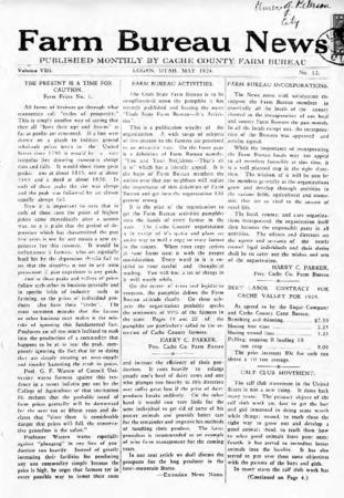 Farm Bureau News, Cache County, Volume VIII, Number 12, May 1924