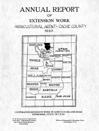 Annual Report of Extension Work, Agricultural Agent, Cache County, 1933