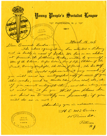 Letter from H.A. McCarrie to Jack London, dated March 16, 1916