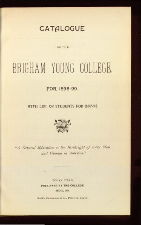 Catalogue of the Brigham Young College for 1898-1899