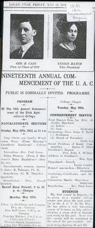 1912 UAC Commencement Program Newspaper Announcement