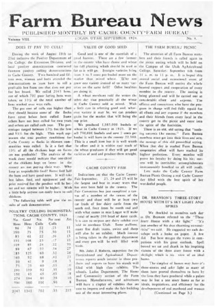 Farm Bureau News, Cache County, Volume VIII, Number 4, September 1924