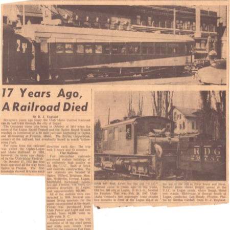 """""""17 Years Ago, A Railroad Died,"""" Unknown Newspaper, 1964<br />"""