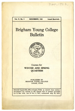 Brigham Young College Bulletin, November, 1922